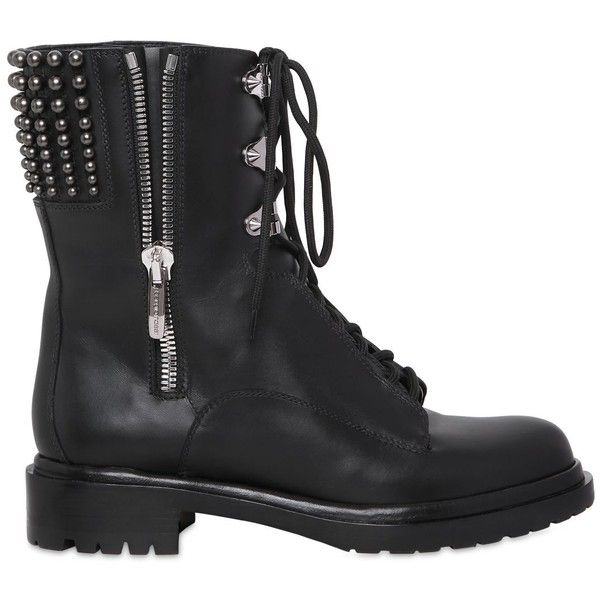 SERGIO ROSSI 30mm Rockstar Leather Combat Boots - Black found on Polyvore