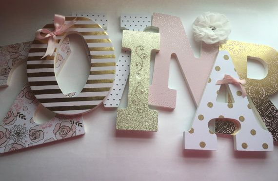 Pink and gold girls nursery letters, Blush and gold nursery letters - - - - ZOVINAR - - - - {{ PRICE IS $20.00 PER LETTER}} These gorgeous girls nursery letters are done in a pink blush, soft whites and a beautiful gold that looks simply stunning when the light hits it! The combination is the perfect mix of gold and pink! Adorned in luxurious embellishments, soft flowers, pearls and bows, they are sure to be the perfect addition to your little princess nursery! To order these letters s...