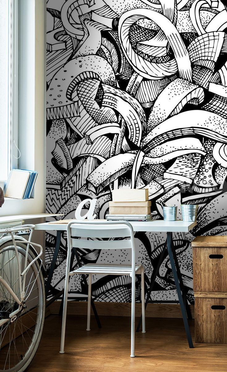 Abstract Doodles Bedroom Wallpaper Black White Graffiti
