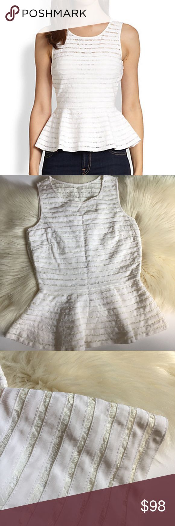 NWT Parker White Mesh Peplum Top NWT Parker Mesh Peplum Top, sold at Saks Fifth for $253 retail, women's size Small Parker Tops