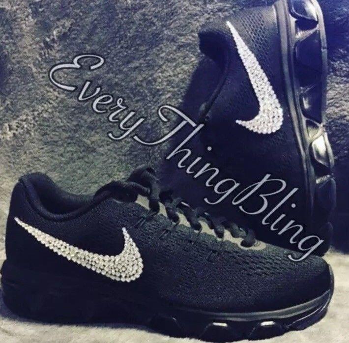 3dd9f5aeab65 Bling Nike Air Max Tailwind 8 Womens Shoes-Clear Swarovski  Crystals-Black-Size 6