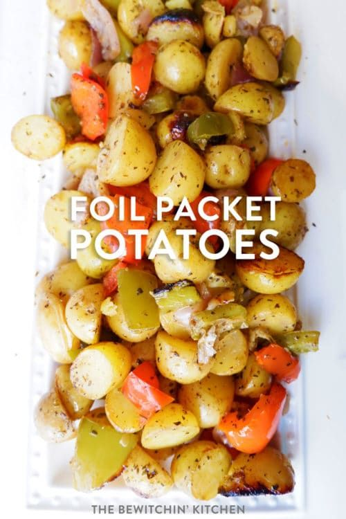 Classic and easy foil packet potatoes. This healthy grilled potatoes recipe uses potatoes, herbs, garlic, and bell peppers.