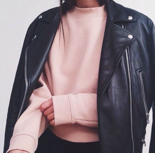pink sweater + black leather jacket