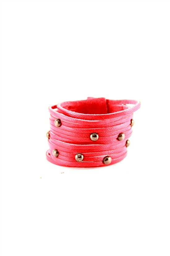 Sliced Leather Cuff with Studs  #leather #cuff
