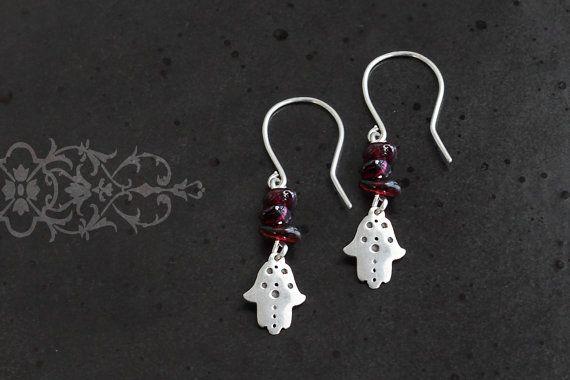Hamsa earrings, silver and garnet