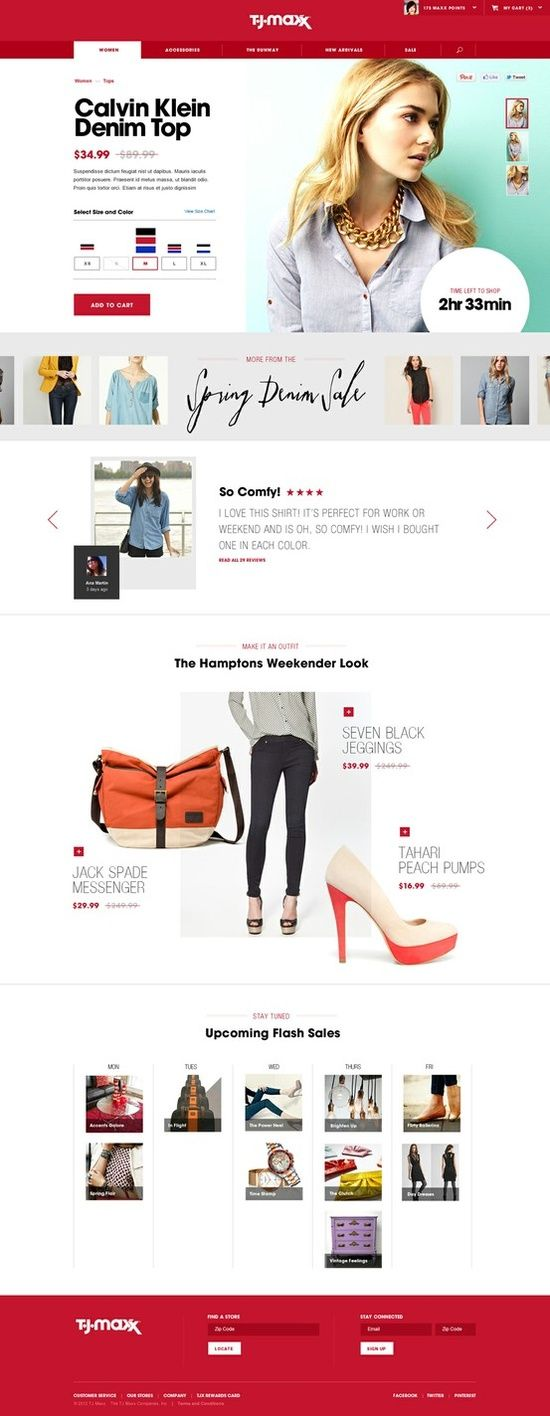 Web design inspiration - TJ Max - Modern Retail, ecommerce website
