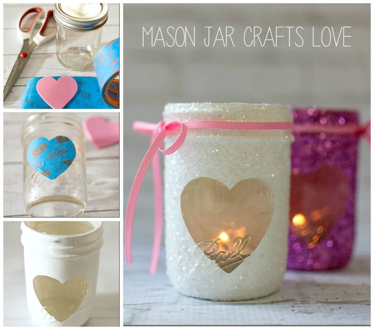 GLITTER HEART MASON JAR VOTIVES...for Valentine's Day! These are so cute & so easy to make...a fun project for the kids!