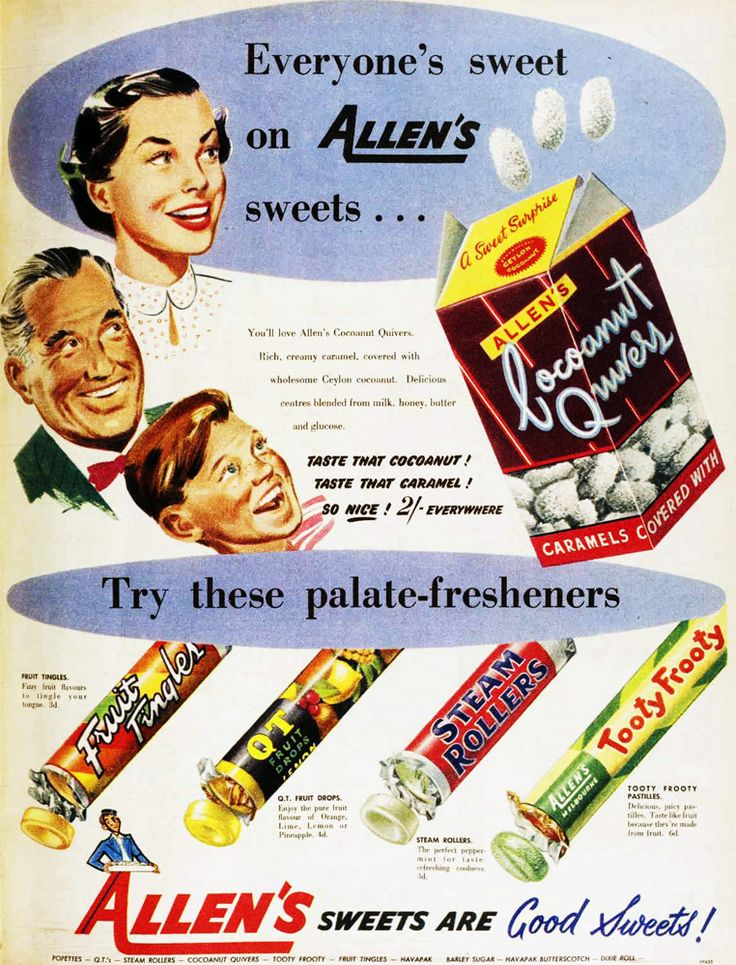 Allens sweets ad, 1950s. I'd forgotten all about Coconut Quivers, they were good!