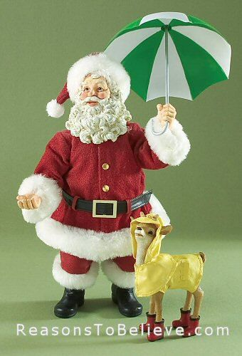 Santa's Raindeer--by Possible Dreams. It's a soggy day somewhere in the world as Santa holds an umbrella over himself and his poncho-covered reindeer in rubber boots. Each Clothtique collectible Santa figurine by Possible Dreams is hand made with individual personality. No two pieces are alike with variations in the fabrics, painting and component placement.