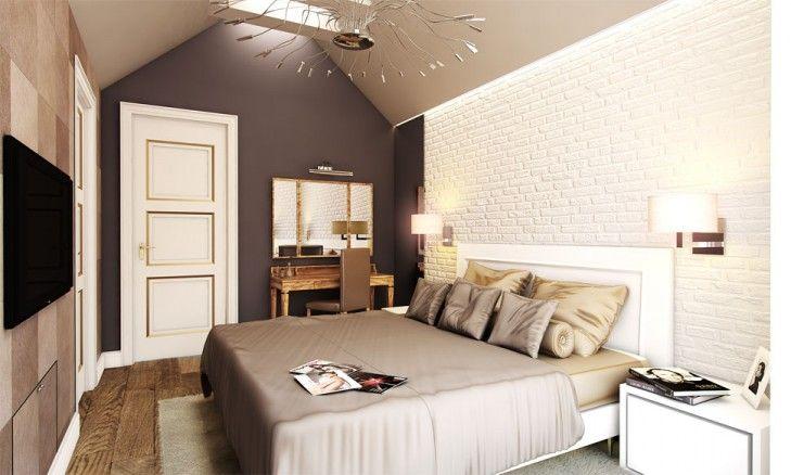 Aranżacja wnętrza sypialni w stylu rezydencjonalnym. Klasycznej elegancji dodają stonowane brązy na ścianach, drewniana podłoga i wykonywane na zamówienie meble.