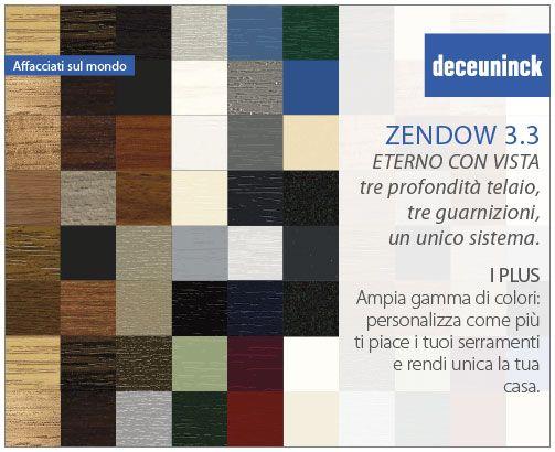 I plus di Zendow 3.3 3: Offre una ampia gamma di colori Le finestre sono una parte fondamentale dell'abitazione e rispecchiano la personalità di chi vi abita. Deceuninck offre un'ampia gamma colori per personalizzare come più ti piace i tuoi serramenti e rendere unica la tua casa. I profili possono essere rivestiti con pellicola acrilica resistente ai raggi UV o colorati in massa. #Deceuninck #Zendow #plus #colori #raggiUV #infissi #porte #finestre #PVC #design