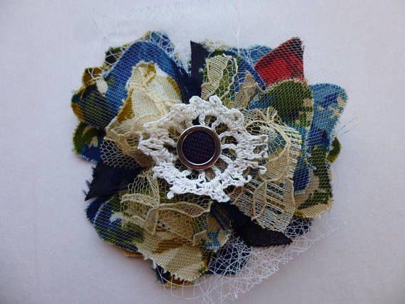 Fabric Flower Brooch Pin Floral Blue Green Gold Beige Button