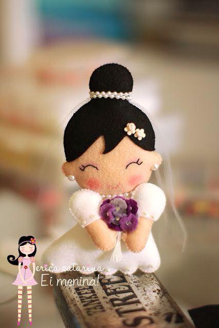 Boneca noivinha para lembrancinha ou topo de bolo