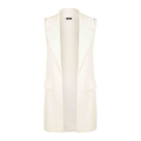 Pocket Design Turndown Collar White Waistcoat found on Polyvore featuring outerwear, vests, jackets, white, waistcoat vest, white waistcoat, long white vest, collared vest and white vest
