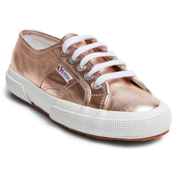Superga  Rose Gold Sneaker ($79) ❤ liked on Polyvore featuring shoes, sneakers, rose gold, rose gold shoes, superga, rose gold sneakers, superga shoes and rose gold trainers
