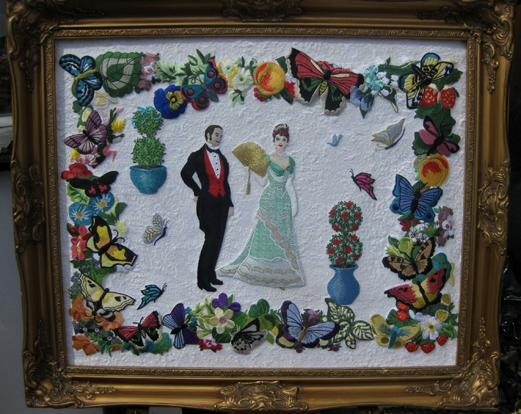 'Victorian Elegance'   machine embroidered on a silk background and quilted.
