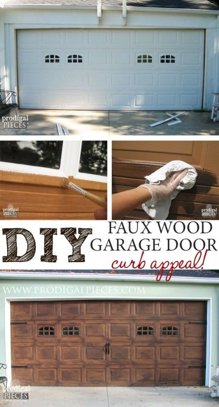 Faux Wood Carriage Garage Door Tutorial...not a super color but pic shows transformation of a white carriage door