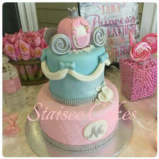 cinderella cake girl baby shower