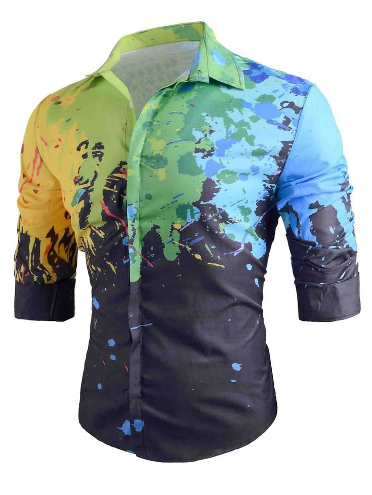Slim Fit Long-sleeved Splatter Paint Shirt - BLACK 2XL