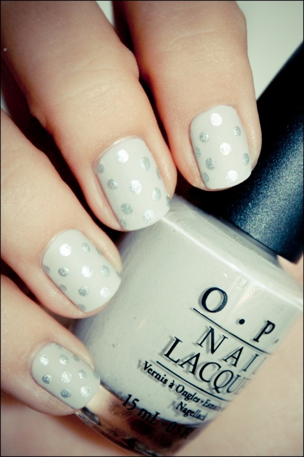 pretty fancy manicure - white with silver polka dots