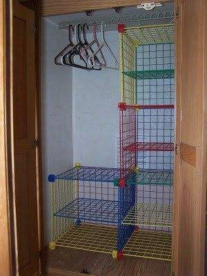 RV and travel trailer storage solutions - cube shelves in closet