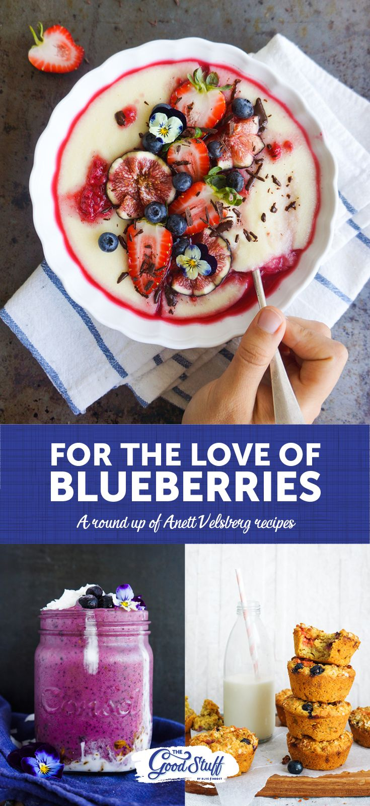 We LOVE blueberries and we love it even more when the little blueberry is used to create something even MORE delicious... as if that's possible.   Check out this round-up of delicious, vegan-friendly recipes by the talented Anett Velsberg.   WARNING: Serious food porn ahead!  #Blueberry #recipe #anettvelsberg #foodporn #goodforyou #Vegan #TheGoodStuff #BlueboostSA