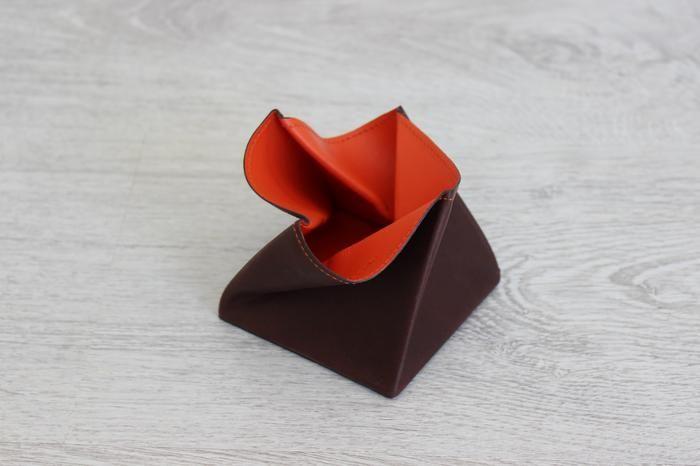 Porte monnaie Origami en cuir orange - Hurbane