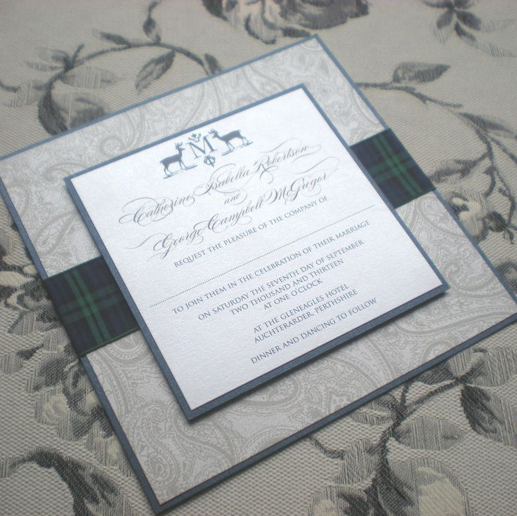 "I like this idea to tie in Tartan. The ""Campbell"" by Vivi Paperie http://www.vivipaperie.co.uk"