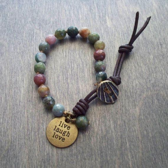 Hand+knotted+Boho+bracelet++Agate+bead+bracelet++by+namDDesign,+$43.00