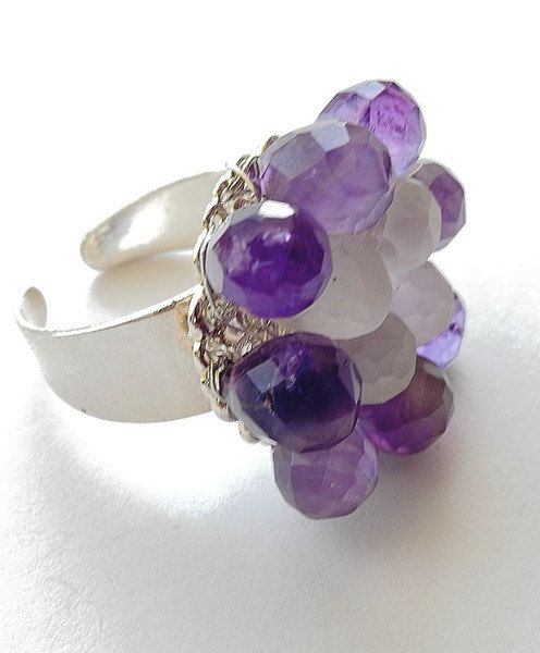 Tears Of A Mountain Spirit  Ring Amethyst Rock Crystal, wire wrapped gemstone ring by dreampaths on Etsy