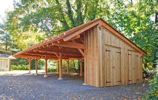 Timber frame carport with potting shed garaz for Carport with storage shed plans