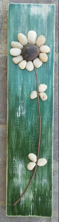Pebble Art Flower on scrap wood that is painted, sanded and sprayed with sealant..also on ETSY in CRAWFORD BUNCH