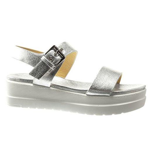 Angkorly - damen Schuhe Sandalen Mule - Plateauschuhe - String Tanga - glänzende Keilabsatz high heel 5 CM - Silber WH824 T 40 - Sandalen für frauen (*Partner-Link)