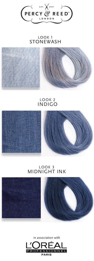 Trend Alert: Denim Hair! Which shade will you go for? Adam Reed, from Percy and Reed has created 3 looks; Stonewash, Indigo and Midnight Ink. Find out more here - http://ow.ly/Z43En