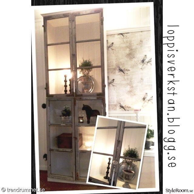 vitrinskåp,gamla fönster