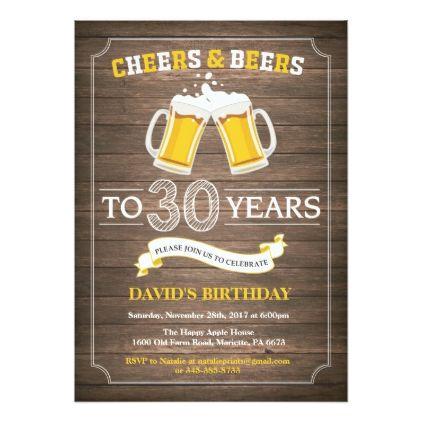 Rustic Beer Surprise 30th Birthday Invitation - birthday gifts party celebration custom gift ideas diy
