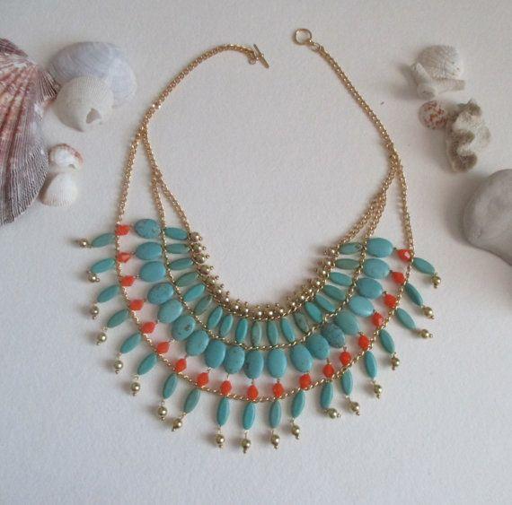 Boho gypsy turquoise bib - perfect for summer