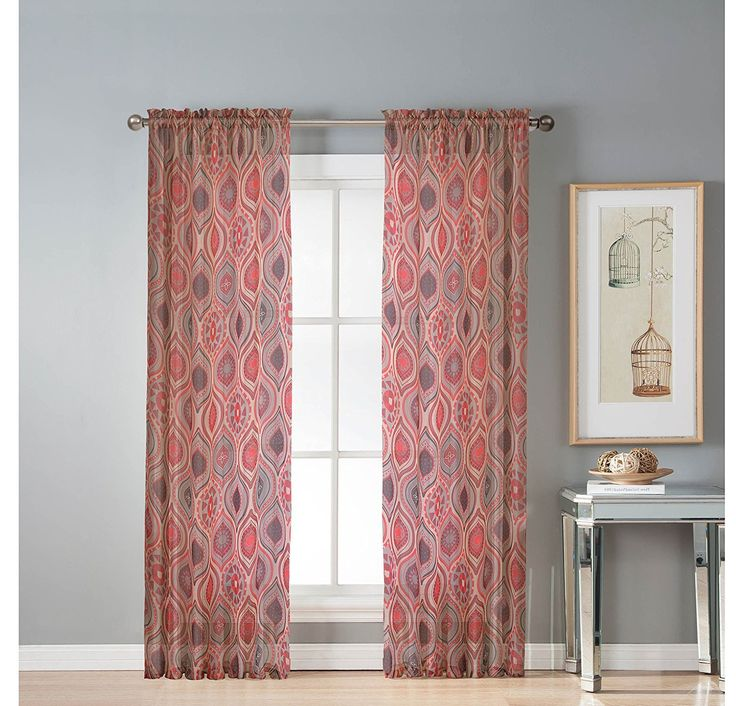 84 Inch Girls Red Color Geometric Printed Sheer Extra Wide Curtain Single Panel Brown Color Window Drapes Kids Themed Grommet Top Modern Playful
