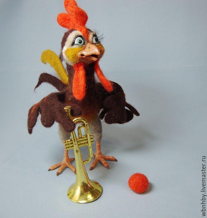 Купить Петушок Петя - комбинированный, птицы, петушок, петух, интерьерная игрушка, войлочная игрушка