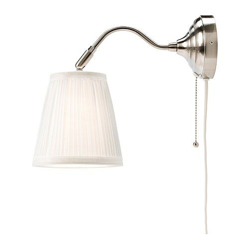 above the bed: Wall Lamps, Guest Bedrooms, Årstid Wall, Fabrics Shades, Bedrooms Lamps Wall, Wall Sconces, Master Bedrooms, Nickel Plates, Bedrooms Wall Lighting