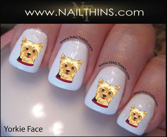 YORKIE Nail Decal Dog Yorkie Face Design Set #2 Yorkshire Terrier Nail Art NAILTHINS