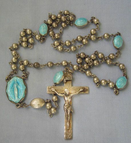 VINTAGE STERLING SILVER ROSARY BEADS W/ ALTERNET BLUE VIRGIN MARY BEADS C1950 #Creed