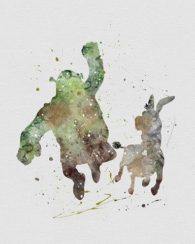 Shrek / Donkey Watercolor Art