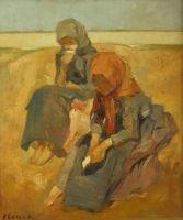 Fényes Adolf: Két falusi leány - 1905 körül   (Nagyítható kép)