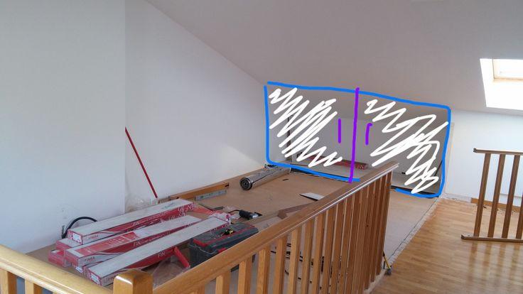 Croquis realizado por el carpintero para la posible colocación de un armario para aprovechar la entreplanta como zona de almacenamiento de objetos. #armario #diseño #carpintero #entreplanta #donostia #sansebastian