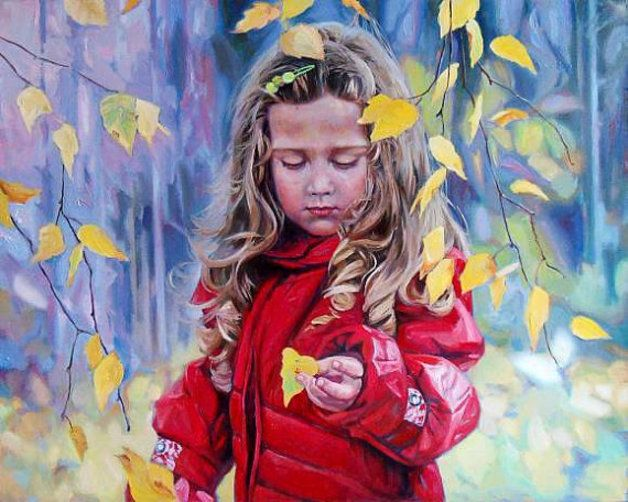 "Oil paintings – Painting portrait original Children 40x50cm "" – a unique product by pitkio on DaWanda          225.00 €"