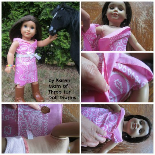 Karen here and today I wanted to share a way you can make two fun no sew dresses for your dolls to wear at the Dude Ranch from one dollar store bandana!To make your own you will need:1 bandanaScis…