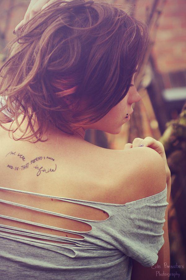 """And in that moment I swear we were infinite"" thats a cute cute tat"