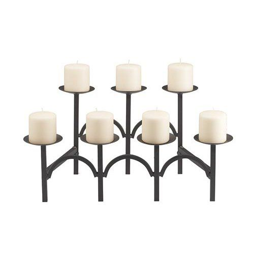 Two Tier 7 Candle Black Fireplace Candelabra - Show your sophisticated sense of style by bringing home the Two Tier 7 Candle Black Fireplace Candelabra. This elegant candelabra has broad candle sta...