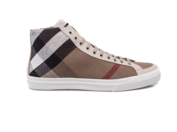 #BURBERRY - Lace up sneakers for men in canvas and leather - Check - Elsa-boutique.it <3